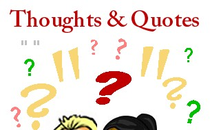 question marks and quotation marks scattered above two heads