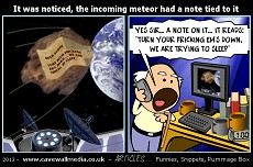 meteor flies towards earth with a note pinned to it