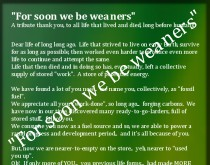 """Funnies – """"For soon we be weaners"""" – a light hearted thankyou to fossil fuel"""